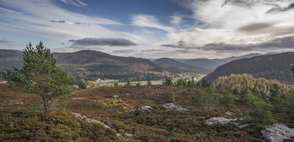 A view of the Braemar landscape, looking towards Ballater, The Cairngorms National Park.