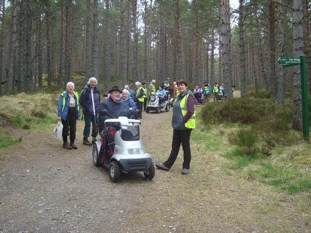 Highland Disabled Ramblers enjoying an all abilities path in Carr Bridge