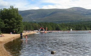 People enjoying water sports at Loch Morlich