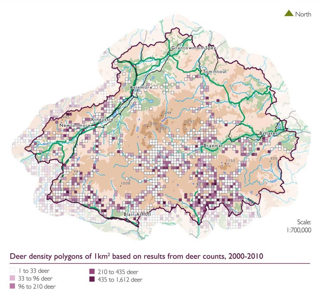 Map showing deer density