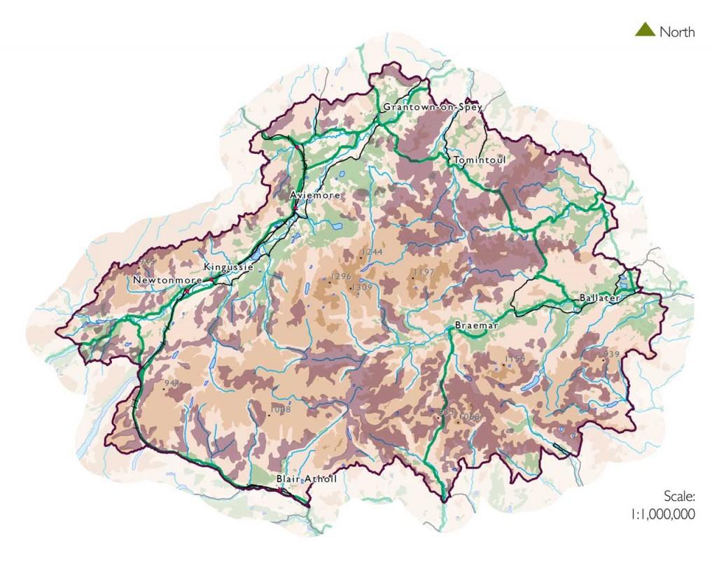 Map showing average peat depth