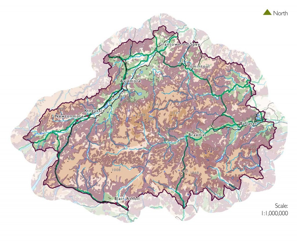 Map showing heather moorland areas