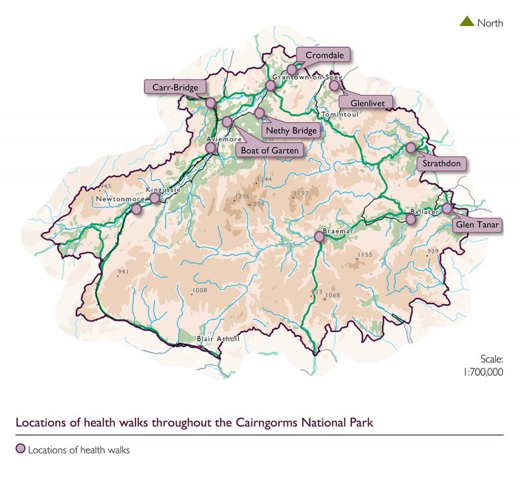 Locations of health walks