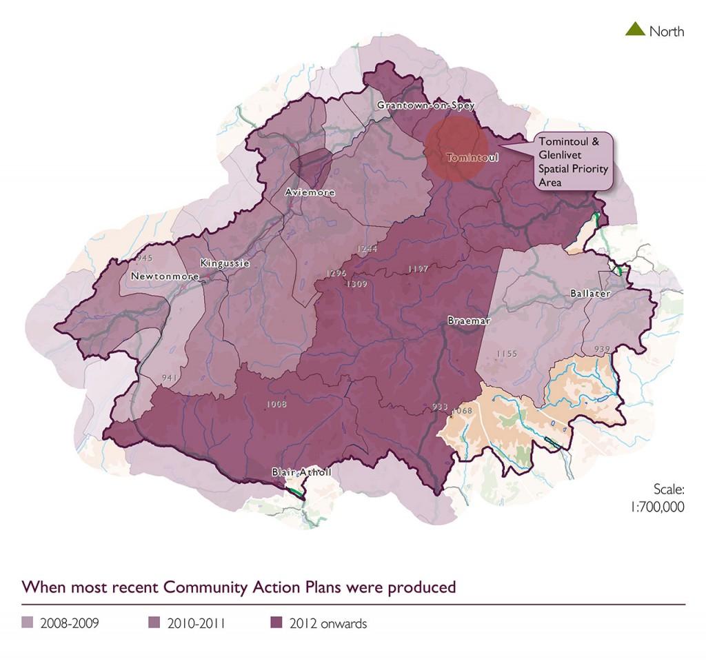 Map showing recent Community Action Plans