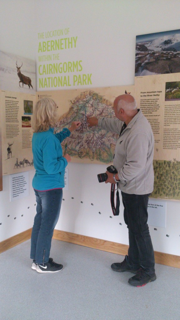 Leila and Jan Jensen, Visitors to Nethy Bridge Visitor Centre