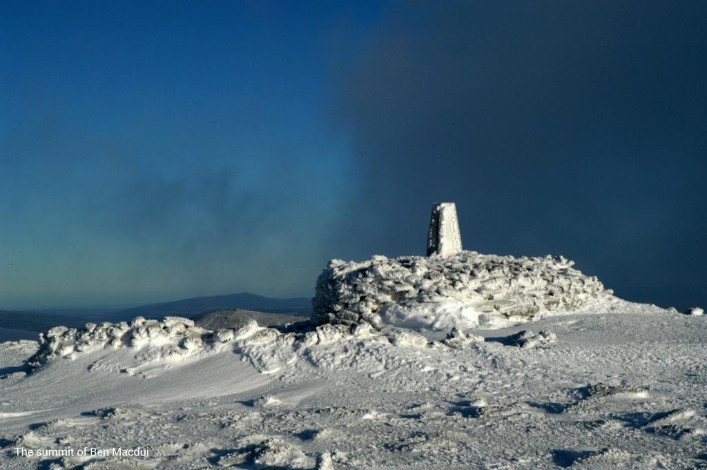 Ben Macdui summit winter with caption