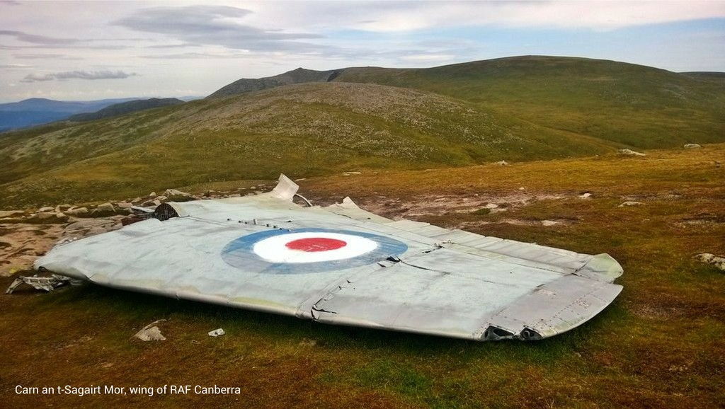Carn an t-Sagairt Mor RAF wing with caption