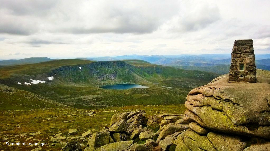 Summit of Lochnagar with caption