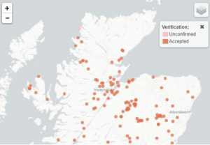 NBNDistribution map of theRed-breasted carrion beetle,in the Scottish Highlands