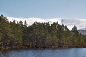 Uath Lochan and the snowy Cairngorms behind