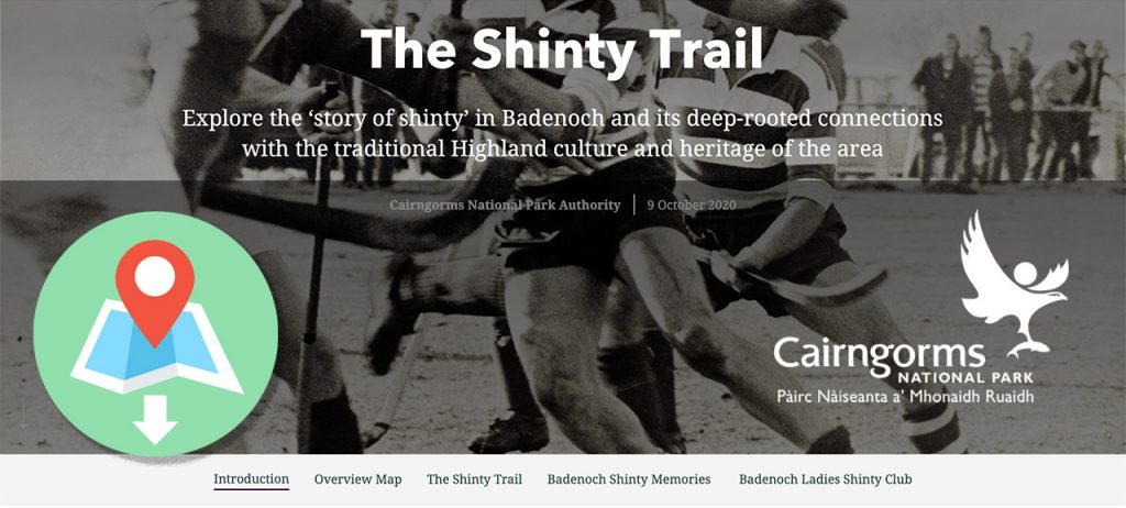 Screenshot of new Shinty Trail app